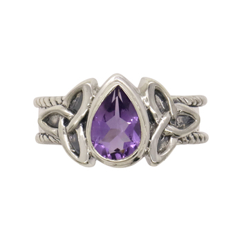 Balinese Trisula Silver Ring with Amethyst