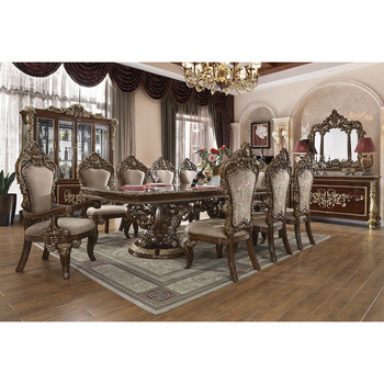 European Palace And Royal Wooden Carved Dining Table With Inlay Table Top And Upholstered Chair