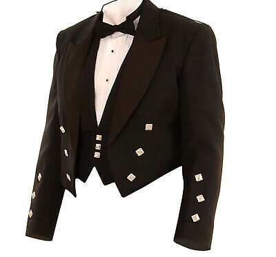 Black Argyll Jacket /& Vest Waistcoat 100/% Wool Quality Formal Kilt Jacket