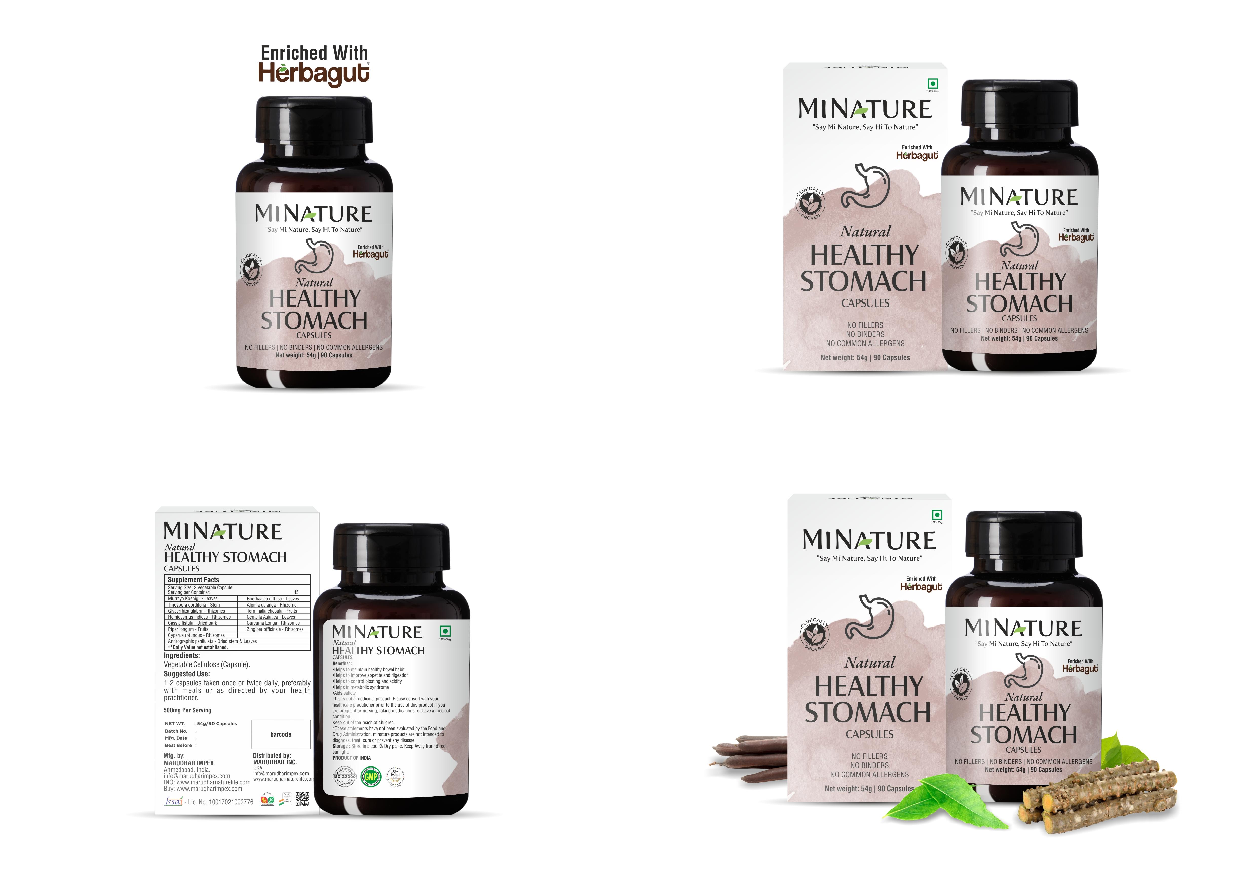 Натуральные клинически доказанные медицинские добавки, капсулы для здорового желудка, 54 г