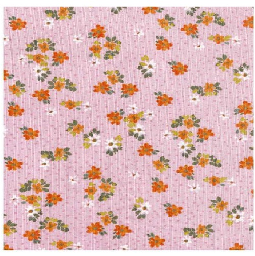 Poly Spandex 8X3 Yummy Rib Floral Print Pink in 8-by-3 Size Rib
