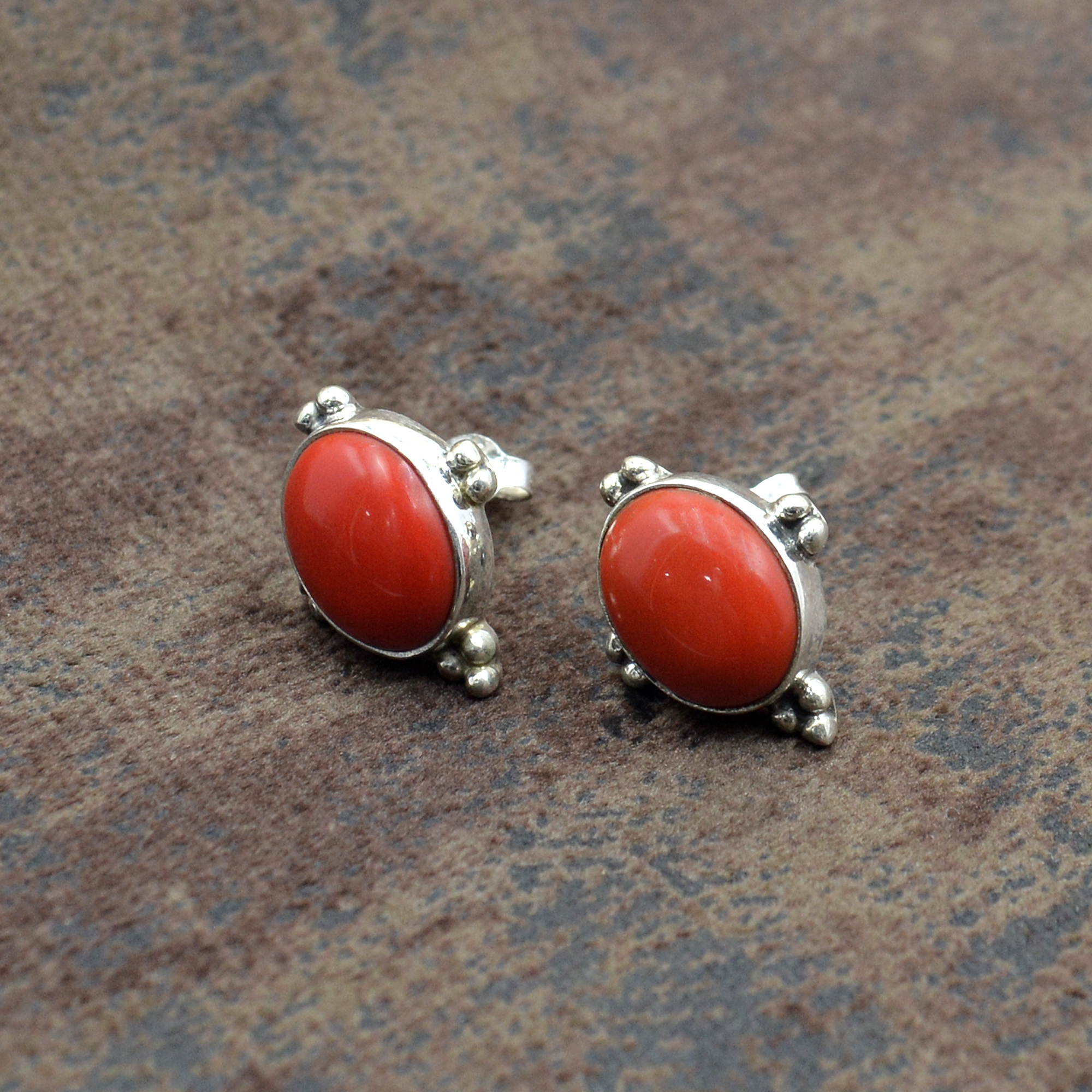 Sterling Silver Earring with Coral