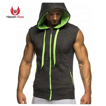 Yellow Trim Front Long Zipper Sleeveless Hoodie Slim Fit Fashion
