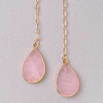 Natural Rose Quartz Earring 9 X 11 MM 24 Carat Gold Platted Gem stone 925 Sterling Silver Handmade Earring Jewelry
