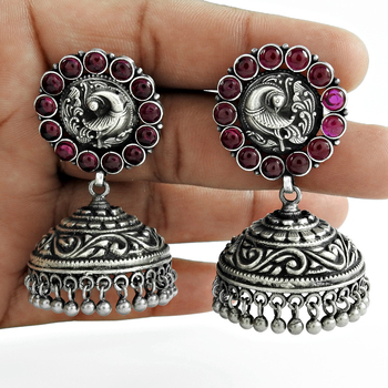 Shining pink ruby earrings 925 sterling silver Jhumkas jewelry wholesale gemstone drop earrings Indian jewelry suppliers