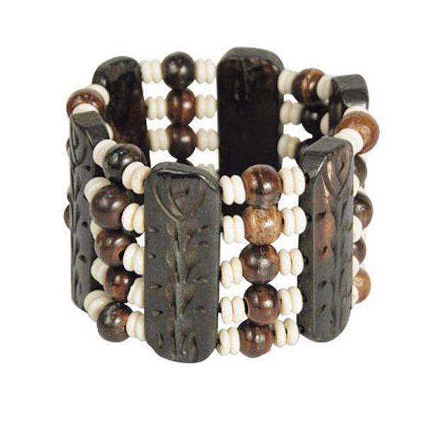 Carved Bone Bead Leather Bracelet