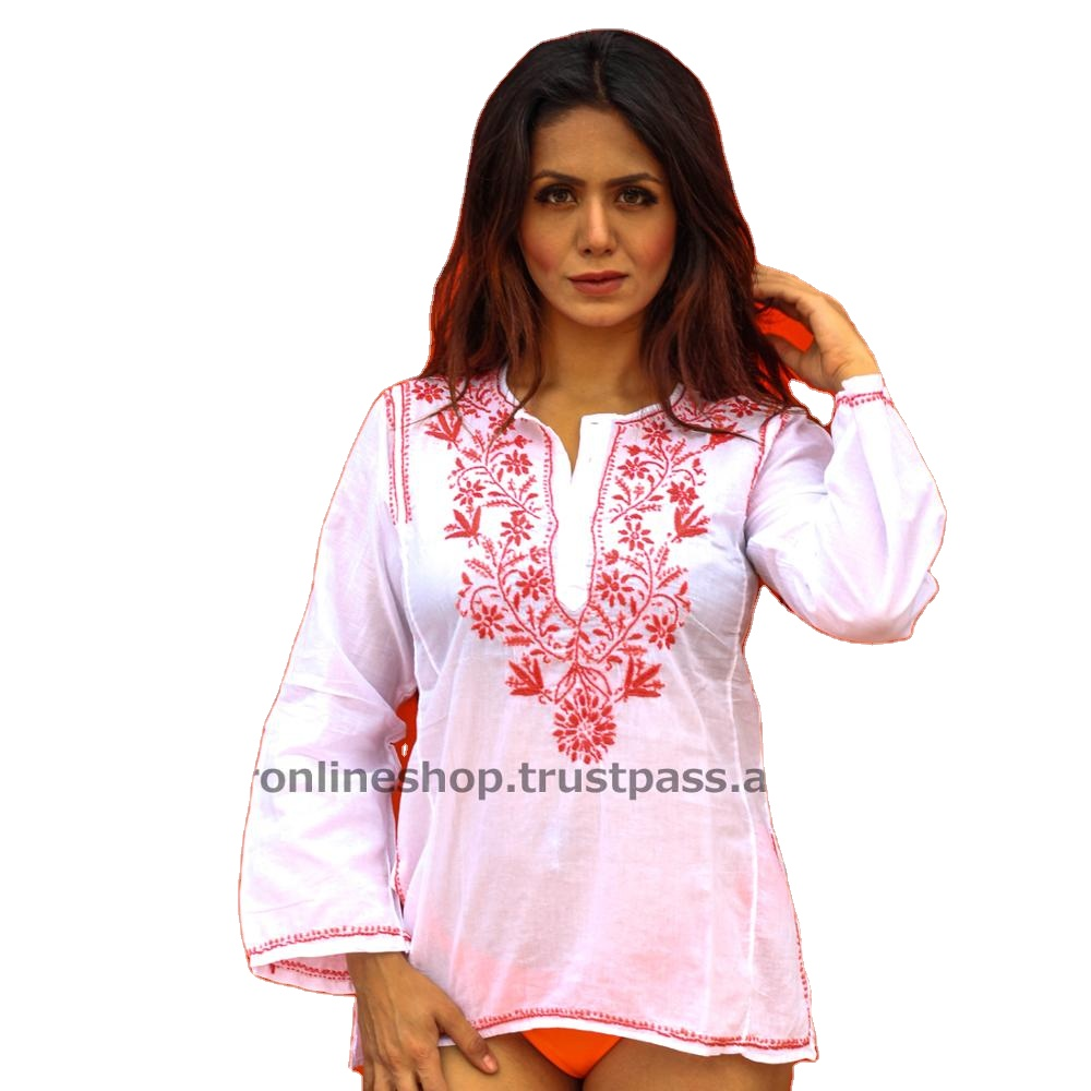 ลัคเนา Chikan ออกแบบเย็บปักถักร้อย Kurtis สำหรับผู้หญิงในอินเดีย