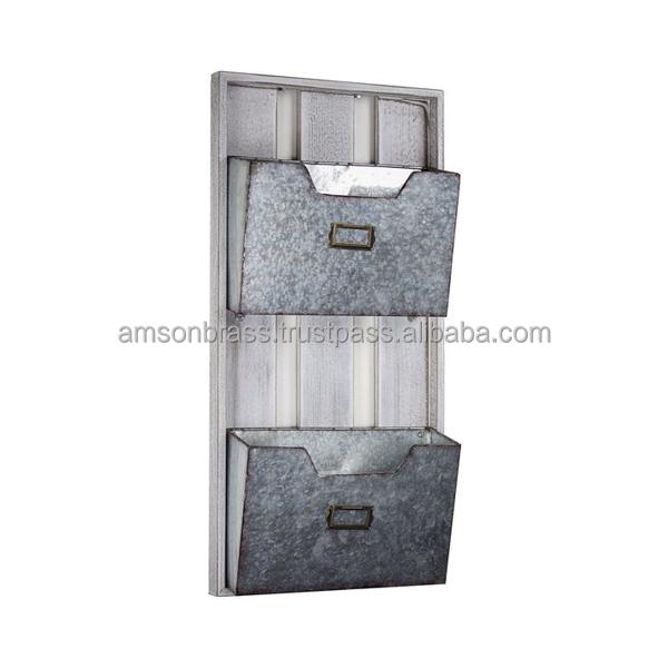 Настенный держатель для букв, трехуровневый настенный органайзер из оцинкованного металла