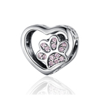 Qings Footprint Pink Charms Bead OEM/ODM 925 Sterling Silver Zircon Charm Heart Pendant