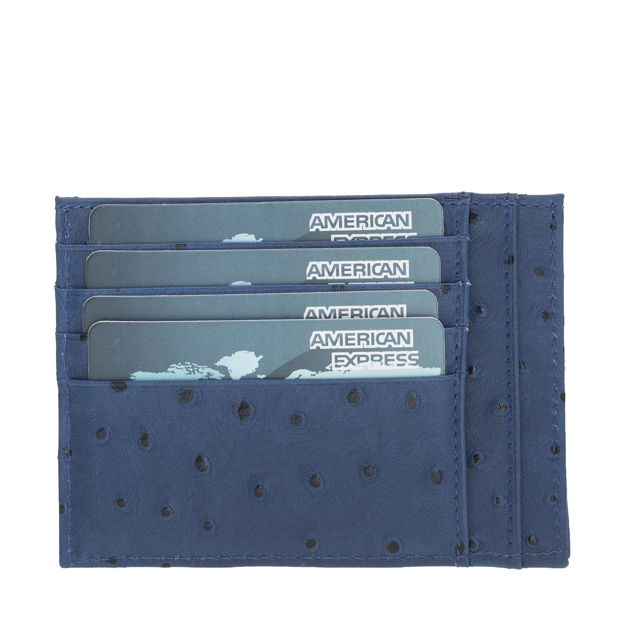 Ostrich Patterned High Quality Genuine Leather  Zip Card Holder