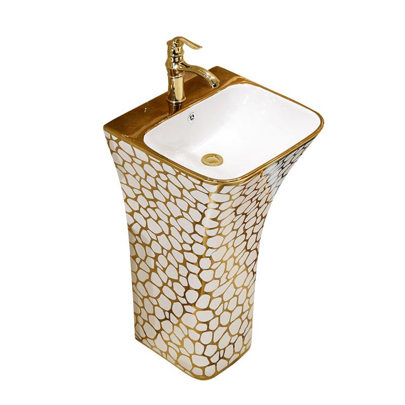 Top Selling Low Price Unique Pedestal Sinks Bathroom Gold Flower Floor Standing Wash Basin Sink Buy One Piece Golden Design Decorative Product On Alibaba Com