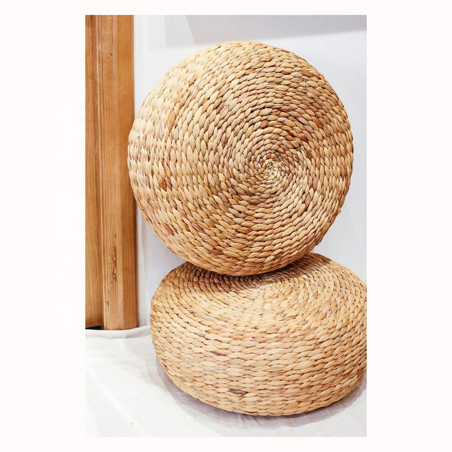 Eco- friendly round natural seagrass stools/water hyacinth ottomans wholesales from Viet Nam
