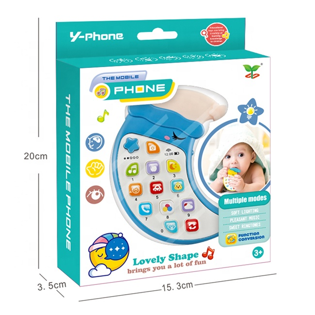 Children moon cell phone toy learning machine early childhood toys cute kids mobile phone with light and music