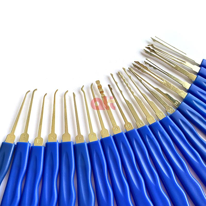 Профессиональные слесарные ручные инструменты, титановый одинарный крючок, синяя пластиковая ручка, 24 предмета, набор отмычек для открытия замка  <img data-src=