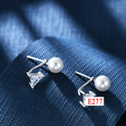 Silver 925 Rose Earrings Silverearrings E7 Classcial Jewelry Korean Style Joyeria Silver 925 Plated Rose Gold Freshwater Perfect Shape Round Pearl Earrings