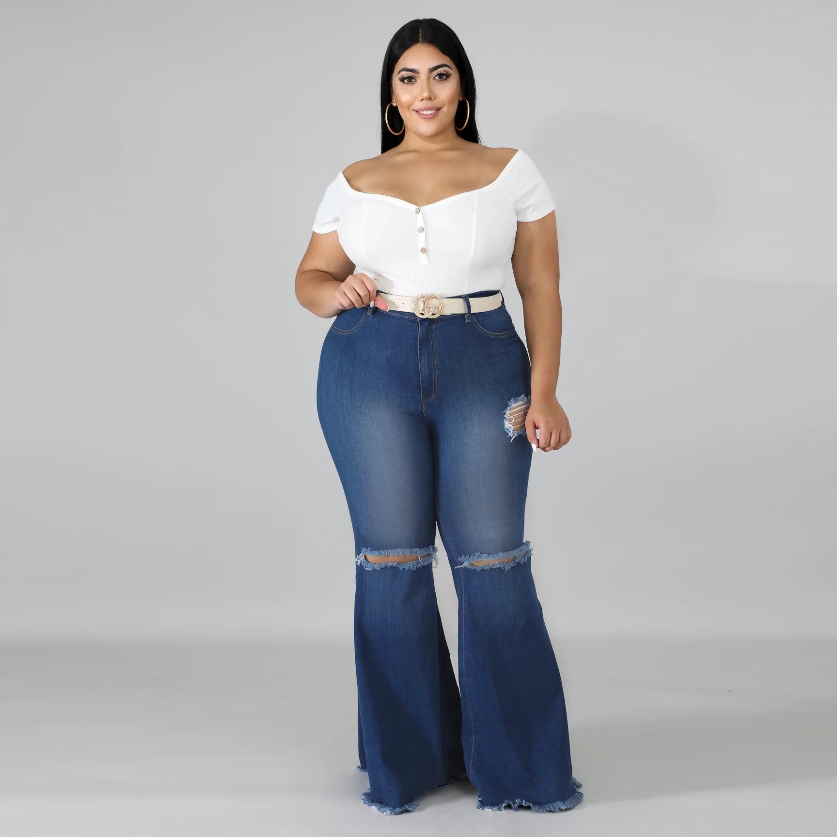 Oferta De Tiempo Limitado Rodilla Solida Agujero Plus Tamano Jeans Mujeres Jean Pantalones Acampanados Buy Las Mujeres Jean Pantalones Acampanados Plus Tamano Campana Inferior Vaqueros Ropa De Mujer Product On Alibaba Com