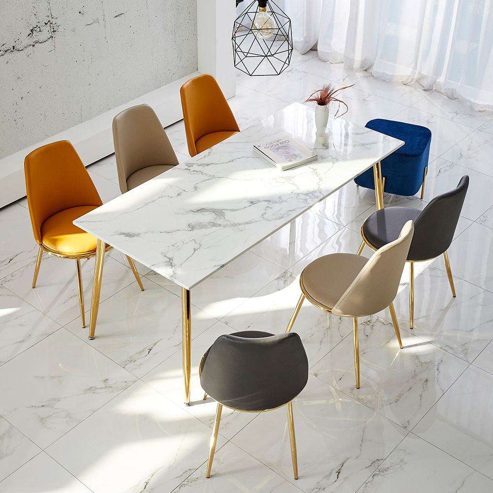 Dining Room Furniture White Stone Dining Table Set Modern ...