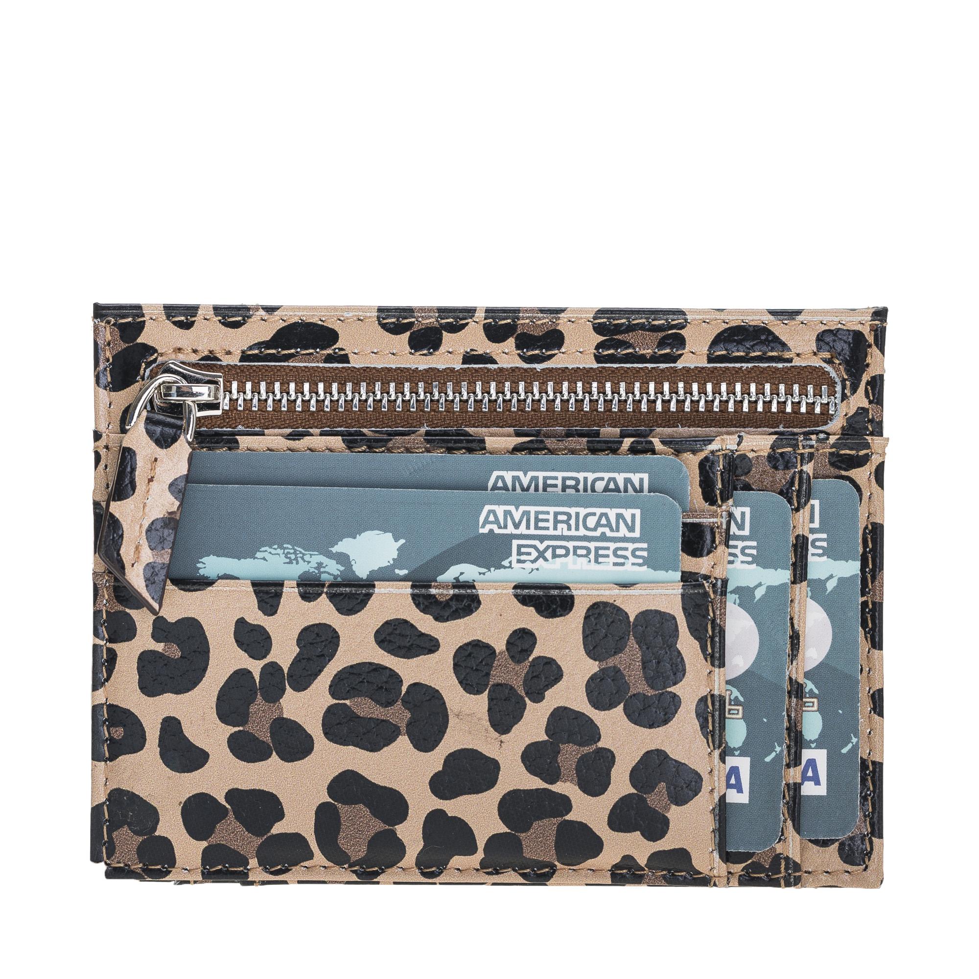 Leopard Patterned Premium  Genuine Leather  Zip Card Holder