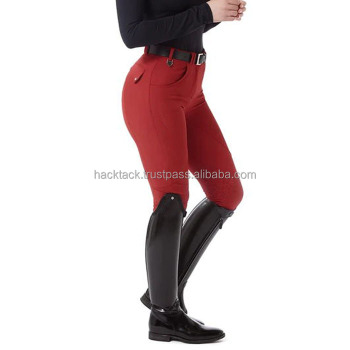 Women's Equestrian Horse Riding Pants Silicone Printing Grey Breeches /Petrol Blue Extra Grip Silicone Riding Breeches quality