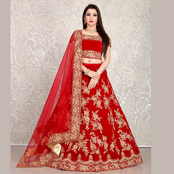Indian ladies fancy Red Velvet Bridal Wear Dori Embroidery Work Lehenga Choli