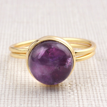 Natural Amethyst Round Shape Yellow Gold Plated Rings For Women Girls