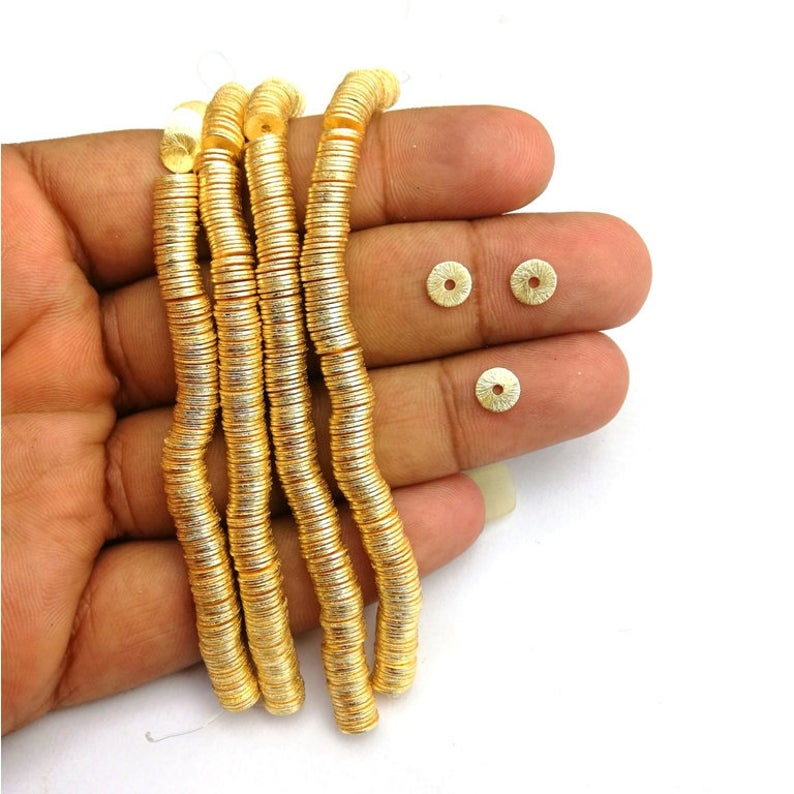 Brushed Gold Plated Flat Round Bead Spacers
