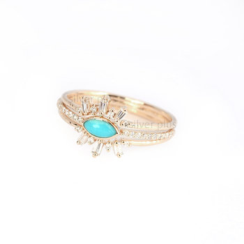 Natural Turquoise Baguette Diamond Evil Eye Ring Set Solid 14K Yellow Gold Wholesale Manufacturer Indian Gold Jewelry Supplier