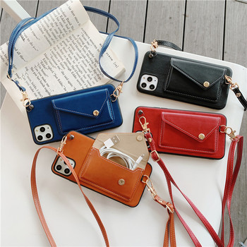 Women Leather Wallet Card Slots Shoulder Strap Necklace Mobile Phone Case For iphone 11