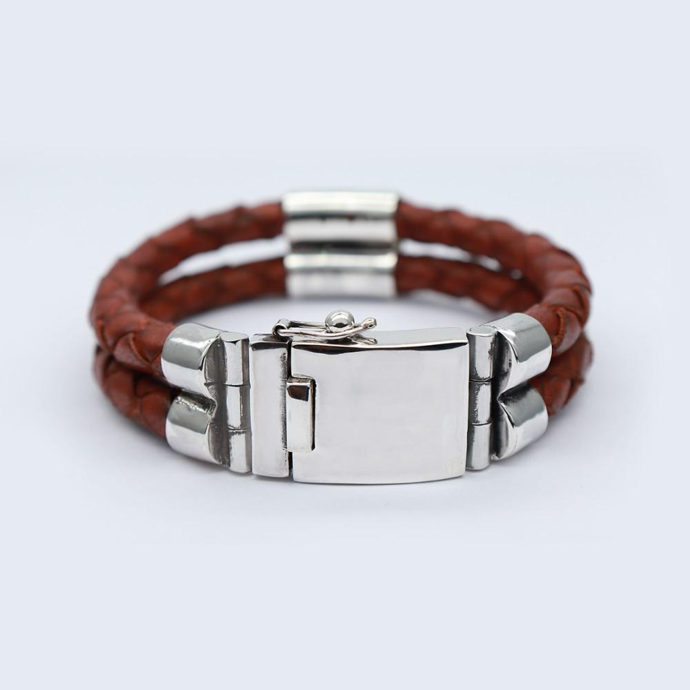 Bracelet with 925 silver ring and real leather