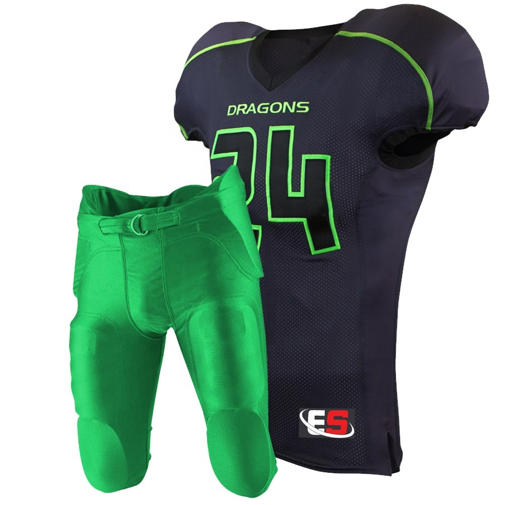 Black Jerseys With Green And Pants 6 Panel American Football - Buy All Pro Football Team Uniforms Product on Alibaba.com