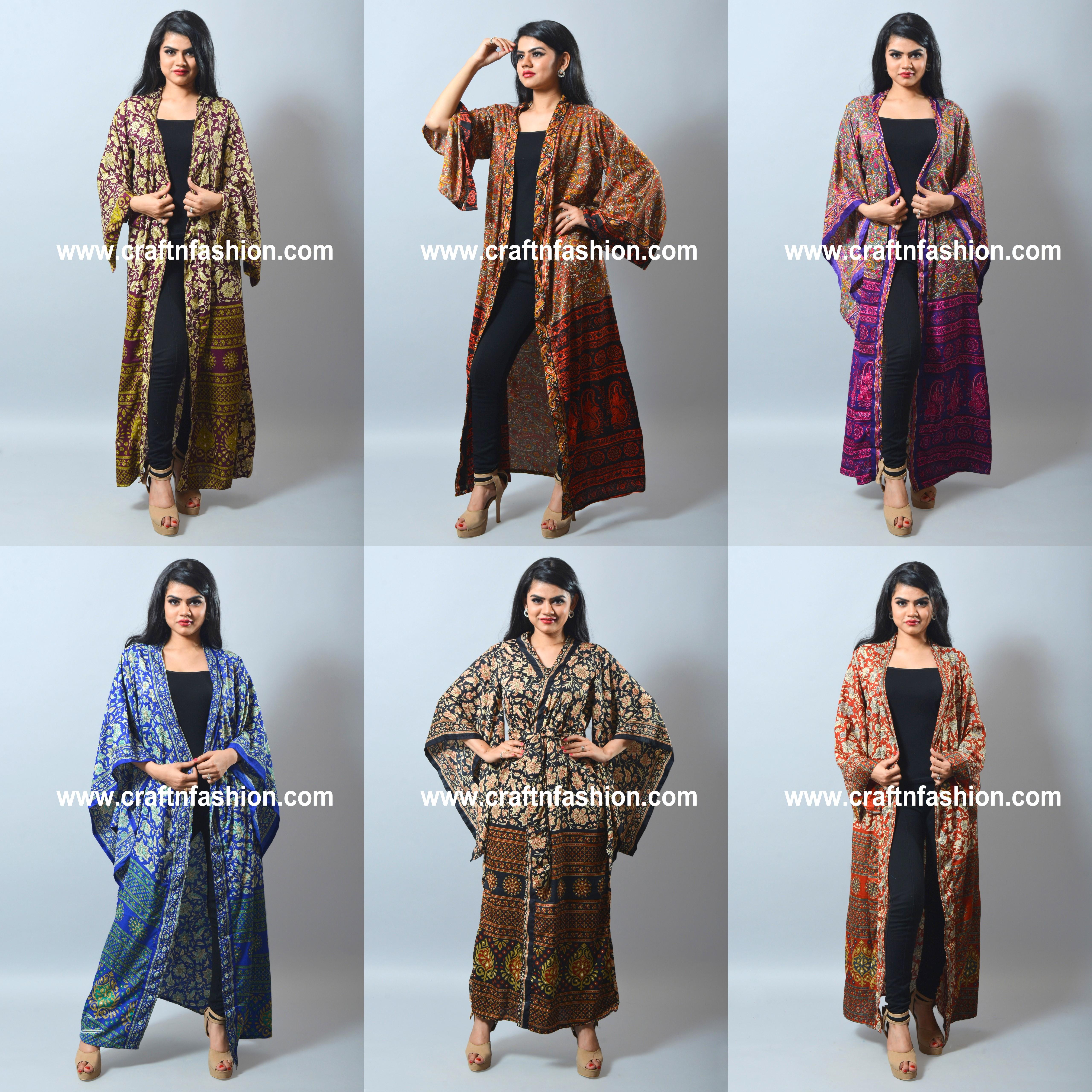 Silk Vintage Robes Kimono Stylish Fashionble Women Long Kimono Handmade Kimono Summer Beach Party Dress
