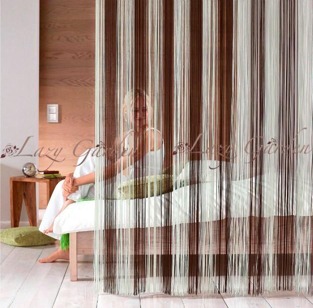 versandkostenfrei mehrfarbigen t r fensterscheiben fadenvorh nge raumteiler natur braun. Black Bedroom Furniture Sets. Home Design Ideas
