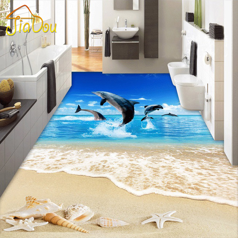 Dolphin Bathroom Tiles: Custom 3D Floor Wallpaper Surf Beach Shells Starfish