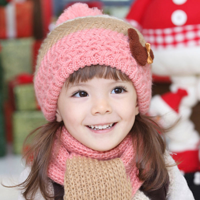 db7ae6dad78 2016 Baby Girls Beret Winter Hats Scarf Sets Crochet Muffler Earflap Caps  Kids Knitted Pocket Hats Child Shawl For 2-7 years