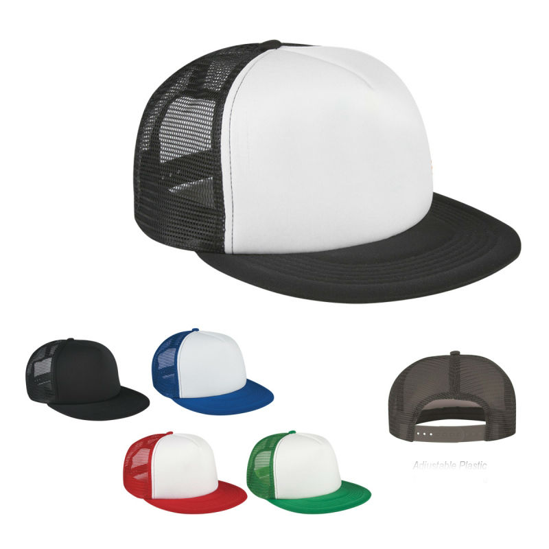 Flat Bill Trucker Cap Men Women Blank Mesh Two Tones Snapback Hat ... e937d580eda