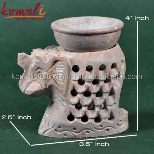 Elephant handmade unique ceramic stone carving t-lite holder oil burner