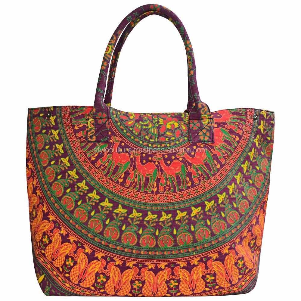Beach Bag Personalized Cotton Tote Holidays Mandala Design 140 gsm Cotton - Mandala Pattern Tote Bag 9 Pearl Vinyl Colours