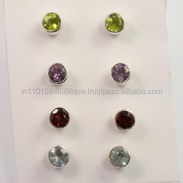 ae3537 925 Sterling Silver Handmade Designer Stud Earrings Amazing Faceted Peridot Oval Shape Gemstone Charm Stud Earring