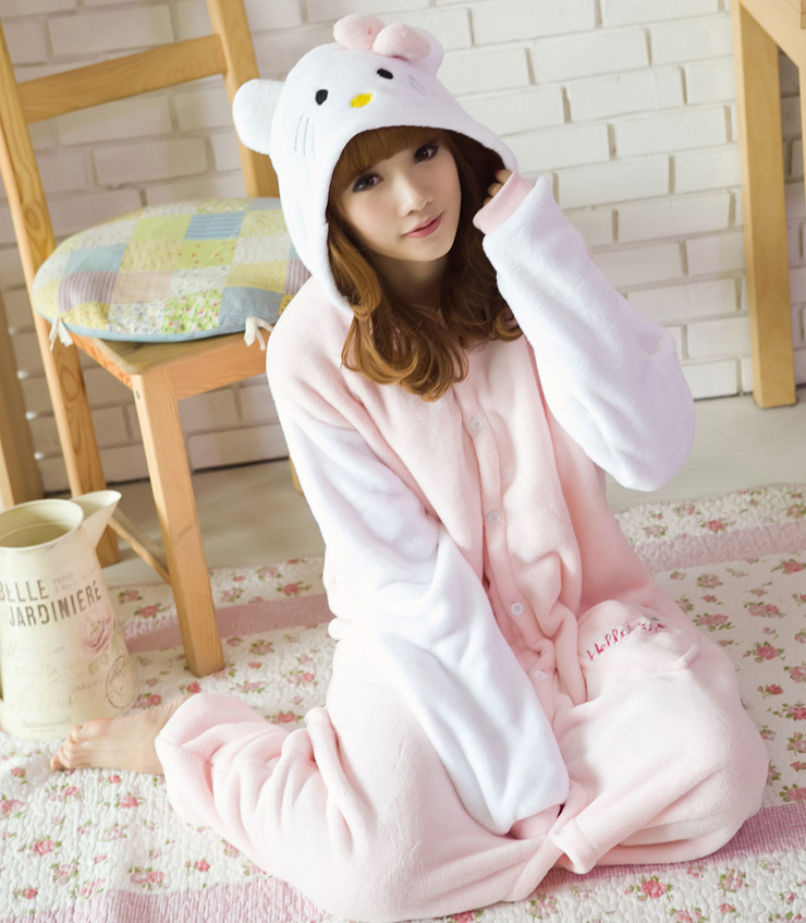 e9c01183d572 Detail Feedback Questions about Winter Warm Soft Fleece Pajamas Pyjamas  Woman White Sleeves Kitty Cat Onesies Costume Cartoon Animal Cosplay Girls  Sleepwear ...