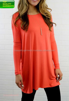 Womens Ladies Girls Long Sleeves Blouse Comfortable Casual Cotton Plain Orange Simple Cute New Design Dress Like OEM Customize