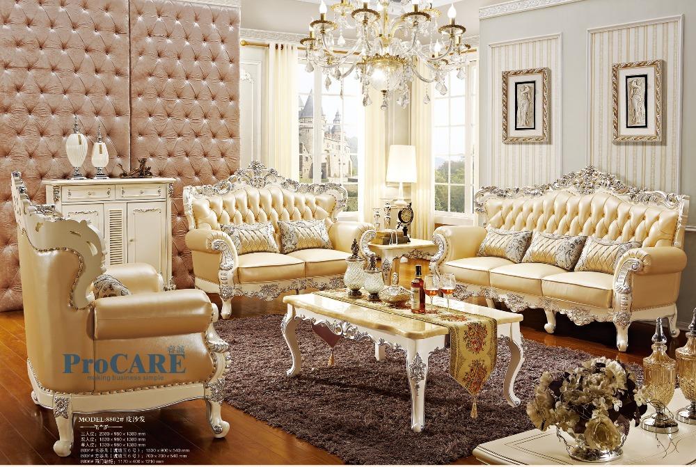 Luxury italian oak solid wood genuine leather sectional - Classic italian living room furniture sets ...