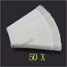 50x Fan-shaped Natural False Nail Art Tips Sticks Polish Display Free Shipping