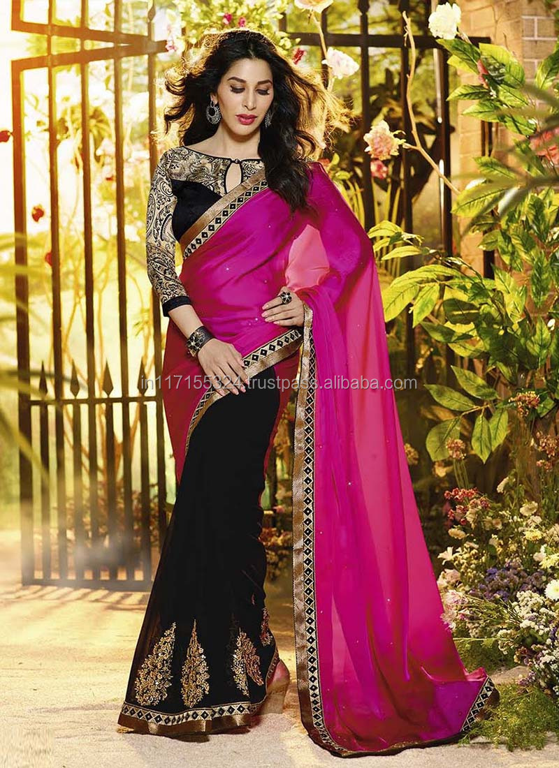 bb51c12d0d Plain Chiffon Sarees With Designer Blouse Wholesale