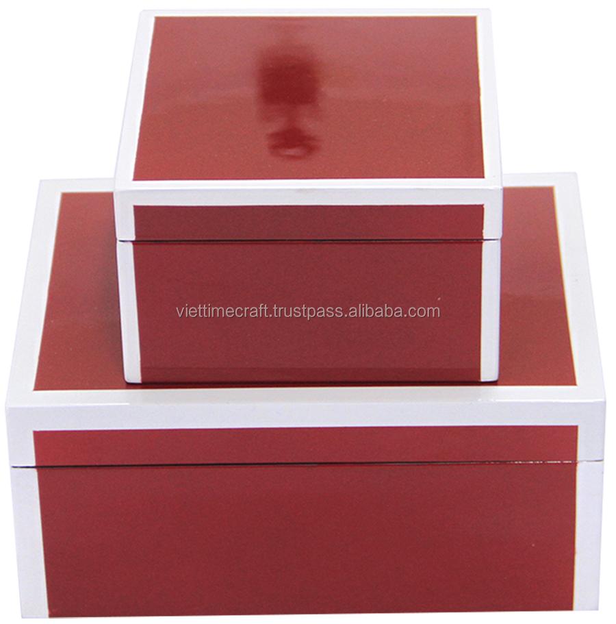 Красная Лаковая коробка, белая линия/Лаковая коробка оптом
