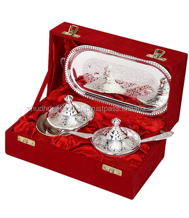 Silver Gifts For Indian Wedding: Kitchen Decor Indian Silver Plated Brass Bowls Handicrafts