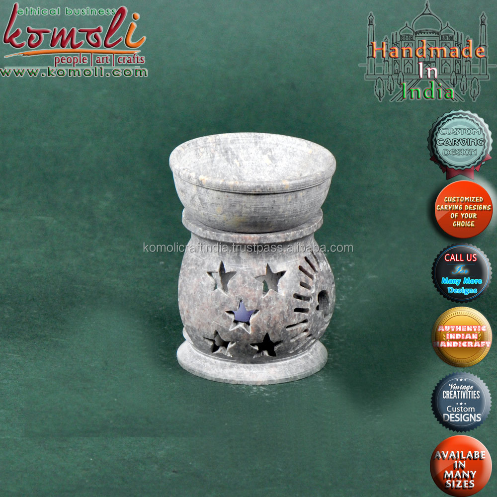 Soapstone carved tea light aroma oil burners warmers of many designs