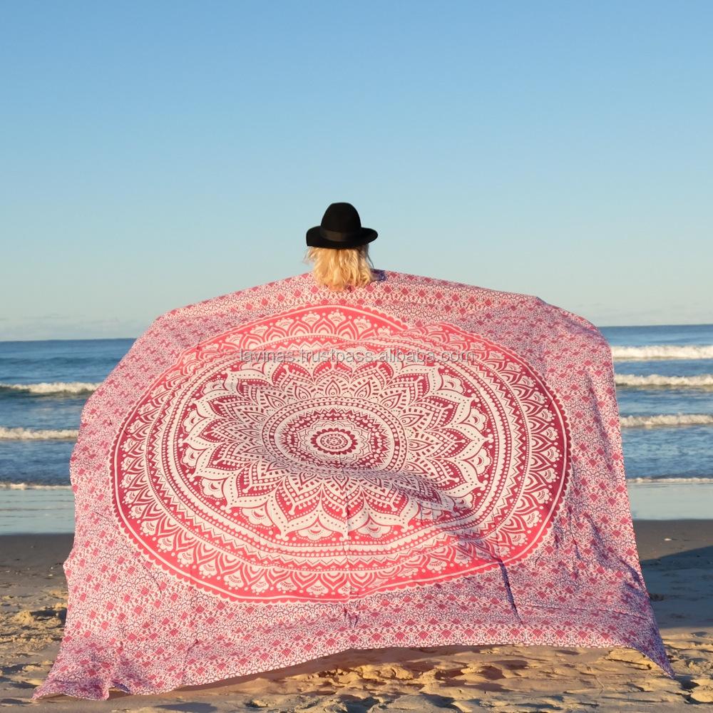Ombre Mandala Indian Tapestry Wall Hanging Round Bohemian Beach Throw Yoga Mat