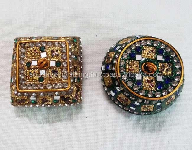 Indian Jewelry Box Set Of 5 Mirror Work Handmade Trinkets Very Sparkley Boho ~