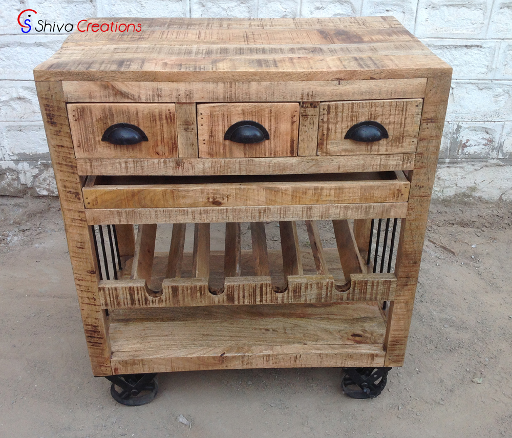 Rough Mango Wood Display Bar Wine Rack Furniture Cabinet