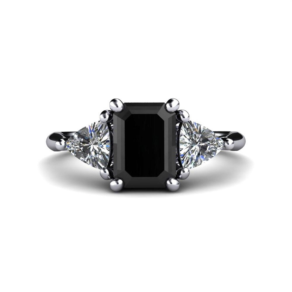 Black Diamond ring Engagement ring with natural diamond